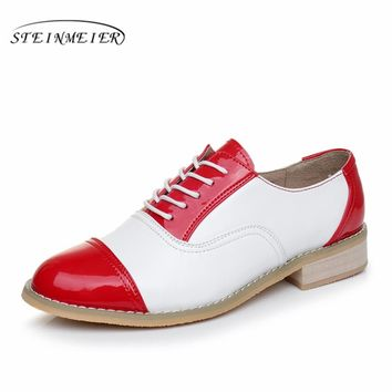 2017 woman vintage flat oxford shoes round toe genuine leather US 10 handmade lace up brown black white oxford shoes for women