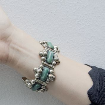 1940s Mexican Taxco Silver and Jade Cabochon Bracelet