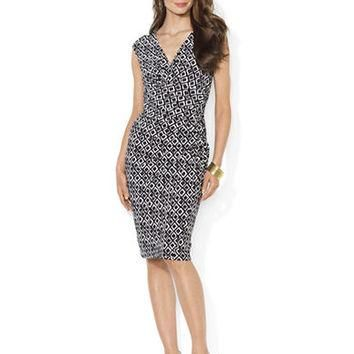 Lauren Ralph Lauren Ruched Jersey Printed Empire Dress