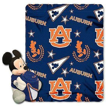 Auburn Tigers NCAA Mickey Mouse Throw and Hugger Pillow Set