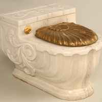 Vintage Italian Sherle Wagner Luxury Carved Marble Toilet Cover