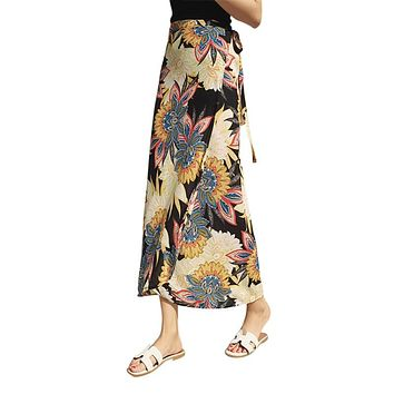 Floral Print High Split Long Skirt Women One Piece Summer Maxi Skirt Female 2018 Sash Tie Up Boho Beach Wrap Skirts for Women