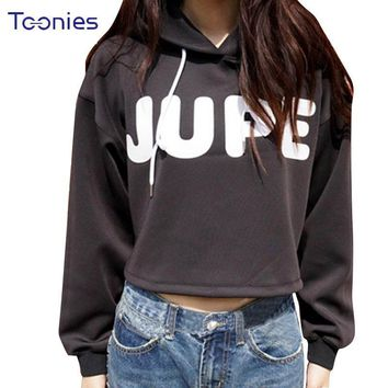 Hip Hop Streetwear Hoodies Autumn 2018 Loose Short Black Hooded Cotton Sexy Stheatrical Costumes Kpop Crop Tops Print Sweatshirt