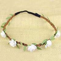 Hippie Love Flower Garland Crown Festival Wedding Hair Wreath BOHO Floral Headband (White)