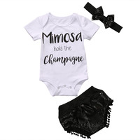 3pcs Baby Girl Kids Clothes Set Newborn headband Top Letter Cute Short Sleeve Shorts Outfit Sets Baby Girls