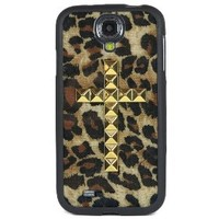 Wildflower Cases Cute Gold Studded Cross Samsung Galaxy S4 Case - Retail Packaging - Cheetah Brown