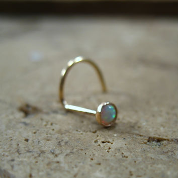 Nose Stud Screw Hook White Opal Gold