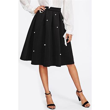 Pearl Embellished Boxed Pleated Circle Skirt