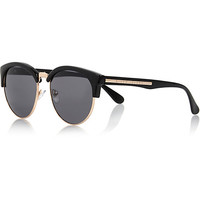 River Island Womens Black half frame retro sunglasses