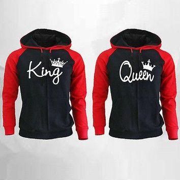 King and Queen Couple Matching Hoodie Boyfriend Girlfriend Valentines Gift Lover's Clothes Hooded Sweatshirt Tops