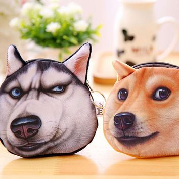 Cute Kawaii Lovely Dog Head Pencil Pen Bag Coin Purse School Office Supply Storage Bag Student Stationery Pouch