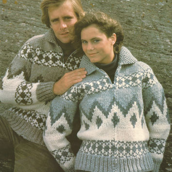 White Buffalo Pattern #6729.  Cowichan Salish style sweater, Wool cardigan, Adult, Native Canadian, hippy, West coast, stranded his and hers