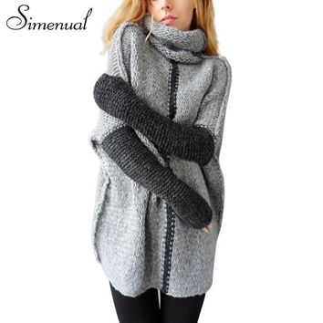 Simenual Winter new vintage turtleneck sweater