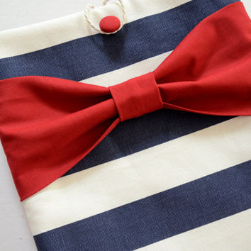 """Macbook Air 11 Sleeve MAC Macbook 11"""" inch Laptop Computer Case Cover Navy & White Stripe with Red Bow"""