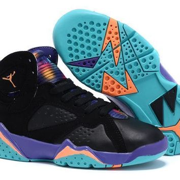 Nike Jordan Kids Air Jordan 7 Retro Black/Blue Kids Sneaker Shoe US 11C - 3Y-1