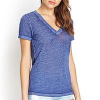 FOREVER 21 V-Neck Burnout Tee