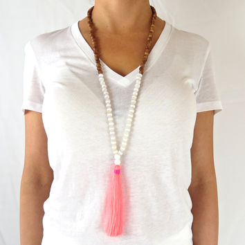 Boho Tassel Necklace - White Agate and Neon Coral Accents