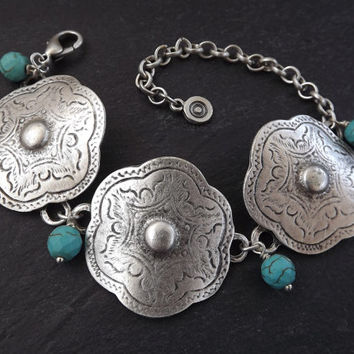 Tribal Ethnic Etched Silver Flower Statement Bracelet with Facet Turquiose Cut Drop Charms - Authentic Turkish Style