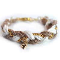White and beige friendship bracelet from organic cotton, braid bracelet with heart charm