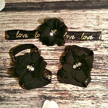 Black Rhinestone and Pearl Chiffon with Gold Foil Love Headband and Barefoot Sandals Set