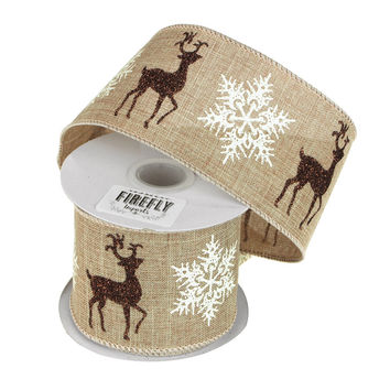 Snowflake Reindeer Linen Holiday Christmas Ribbon Wired Edge, 2-1/2-Inch, 10 Yards, Natural