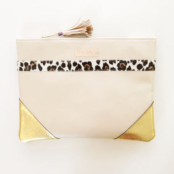 SAFARI / Metallic leather & Leopard calf hair minimalist clutch bag - Ready to Ship