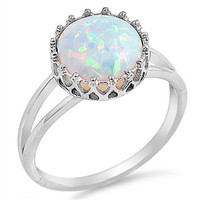 .925 Crown Round Opal Stud Rings