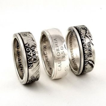 90% Silver State Quarter Coin Ring