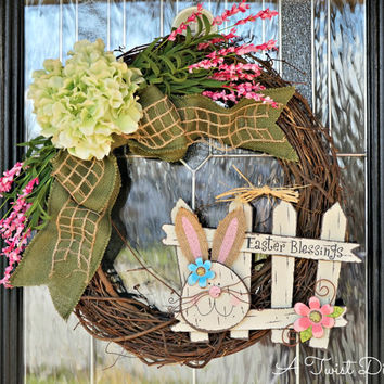 Easter Blessings Grapevine Wreath with Adorable Bunny, Easter Wreath, Easter Grapevine Wreath, Bunny Wreath, Spring Wreath, Spring Wreath
