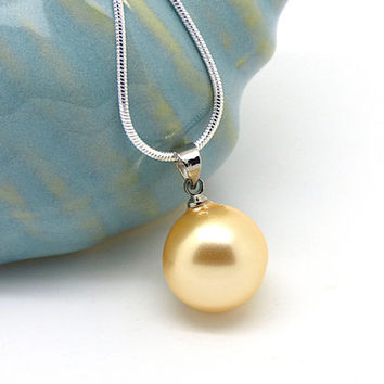 Yellow Pearl Necklace, Large Pearl Pendant, Shell Pearl Jewelry