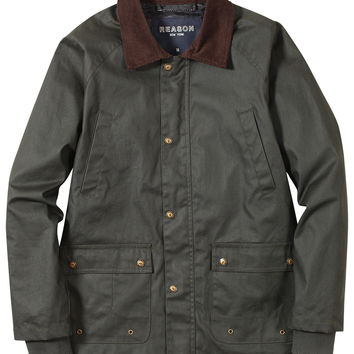 Waxed Cotton Hunting Jacket - Olive