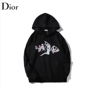 DIOR New fashion floral letter print couple hooded long sleeve sweater Black