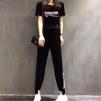 ONETOW balenciaga women casual fashion letter wave stripe diamond short sleeve trouser
