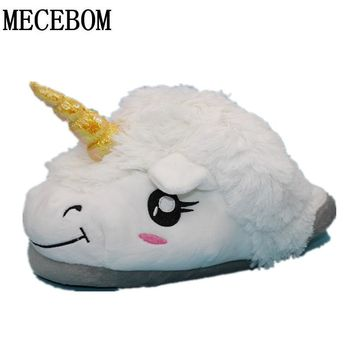 Plush Unicorn Cotton Home Slippers for White Despicable Winter Warm only one size Indoor Christmas Slippers Fit Size36-41 B15