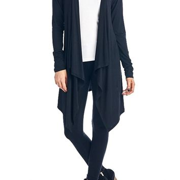 82 Days Women'S Rayon Span Open Front Cardigan With Hoodies - So
