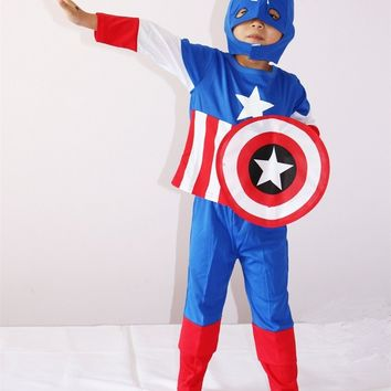 Captain America Cosplay Costume Halloween Costume for Kids Role Play Superhero Superman Cosplay Avengers Costume 3-7 Years