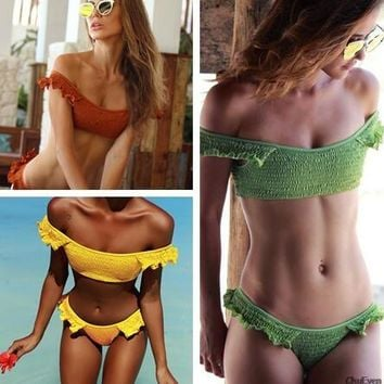2018 New Crinkle Sexy Brazilian Bikini Women Swimsuit Swimwear Women Bathing Suit Thong bikinis Solid Beach Wear Biquini