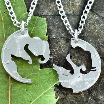 Elephant Wolf Couples Necklace set, BFF Relationship jewelry, coin