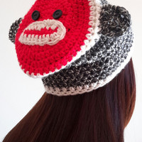 Crochet Sock Monkey beanie hat. Animal Hat. Made by Bead gs on etsy. ladies size.