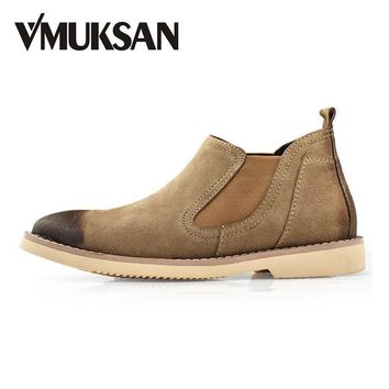 VMUKSAN Brand New Mens Boots Suede Leather Chelsea Boots 2017 Fashion Men's Shoes Casu