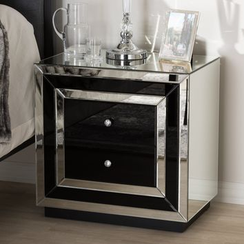 Baxton Studio Cecilia Hollywood Regency Glamour Style Mirrored 2-Drawer Nightstand Set of 1