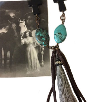 Handcrafted Grey Horse Hair Tassel Necklace