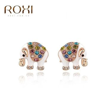 Roxi rose gold white elephant multi stone stud earrings