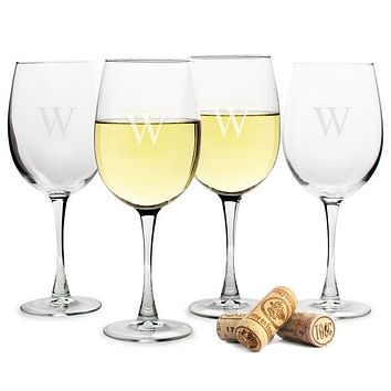 Personalized White 19 oz. Wine Glasses (Set of 4)