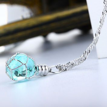 New Creative Luminous Crystal Ball Chic Glow In The Dark charming Necklace fine jewelry 2color