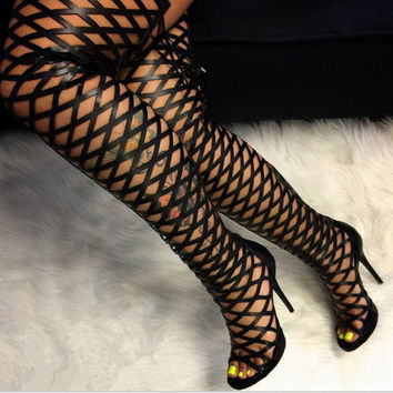 Over The Knee Cut-out Gladiator Sandals Boots Thigh High Heels Shoes Pumps