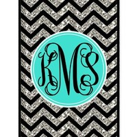 iZERCASE Monogram Personalized Black Grey Turquoise Chevron Pattern (NOT ACTUAL GLITTER) rubber iphone 4 case - Fits iphone 4 & iphone 4s T-Mobile, Verizon, AT&T, Sprint and International (Black)