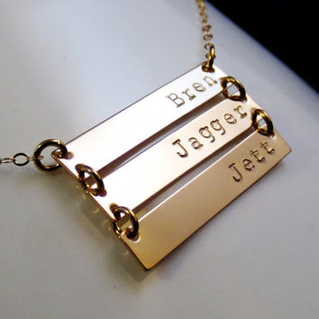 Personalized Gold Bars Necklace, Three Triple Mom Sister Aunt Grandma Christmas, Childrens Names, Handstamped Gold Minimalist, Valentines