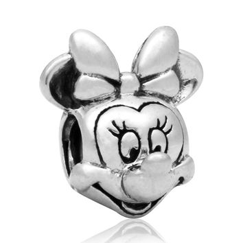 New Silver Plated Bead Charm European Vintage Cute Cartoon Mouse Beads Fit Women Pandora Bracelet Bangle DIY Jewelry HKC0210