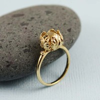 Gold Rough Green Amethyst Tulip Ring